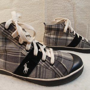 Polo Sneakers High Top Tennis Shoes Gray Black